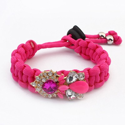Cheap Plum Red Water Drop Shape Gemstone Decorated Alloy Korean Fashion Bracelet
