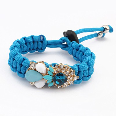 Sequined Blue Water Drop Shape Gemstone Decorated Alloy Korean Fashion Bracelet