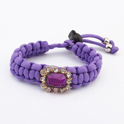 Recycled Purple Square Shape Gemstone Decorated Design Alloy Korean Fashion Bracelet