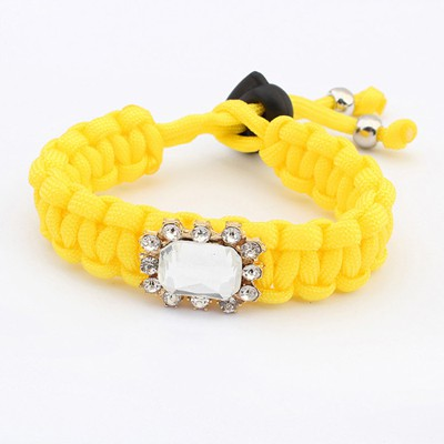 Apparel Yellow Square Shape Gemstone Decorated Design Alloy Korean Fashion Bracelet