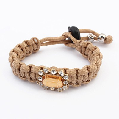Bodybuildi Coffee Square Shape Gemstone Decorated Design Alloy Korean Fashion Bracelet