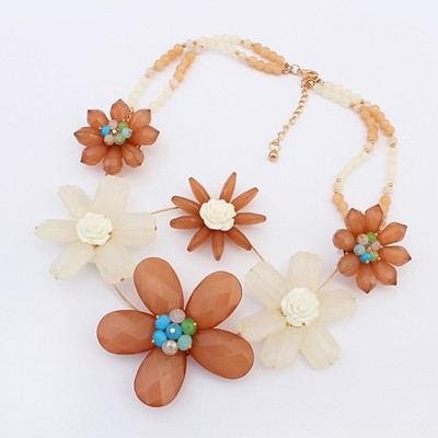 Small Coffee Sweet Flower Decorated Bead Chain Design Alloy Bib Necklaces
