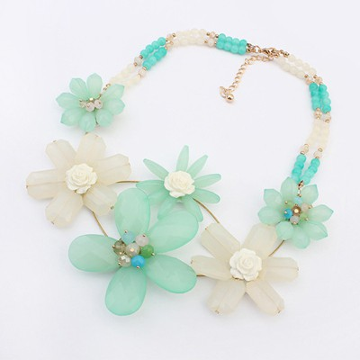Expired Light Green Sweet Flower Decorated Bead Chain Design Alloy Bib Necklaces
