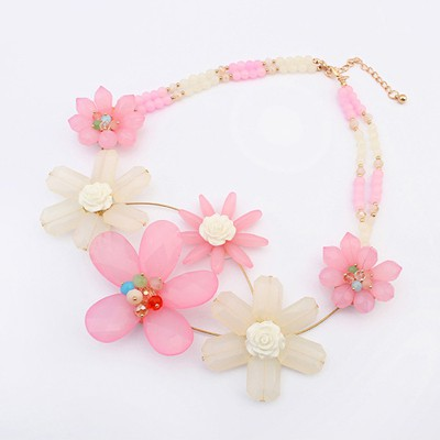 Display Pink Sweet Flower Decorated Bead Chain Design Alloy Bib Necklaces