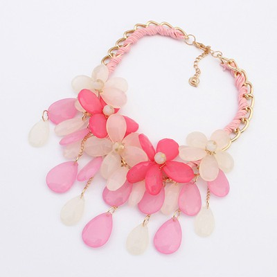 Corduroy Pink Multilayer Flower Water Drop Pendant Design Alloy Bib Necklaces