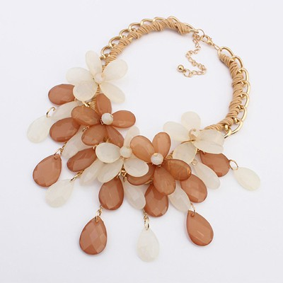 Sparrow Coffee Multilayer Flower Water Drop Pendant Design Alloy Bib Necklaces