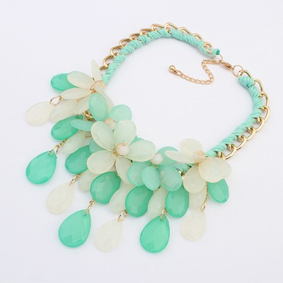 Kennedy Light Green Multilayer Flower Water Drop Pendant Design Alloy Bib Necklaces
