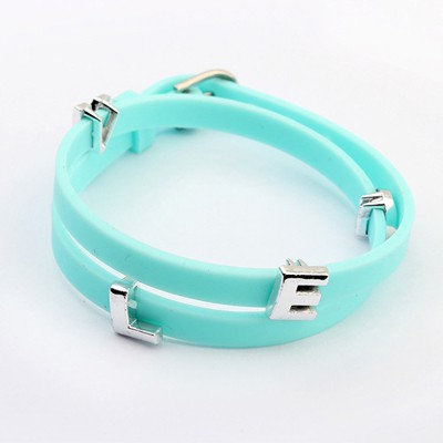Natural Blue Metal Letter Decorated Multilayer Design Alloy Korean Fashion Bracelet