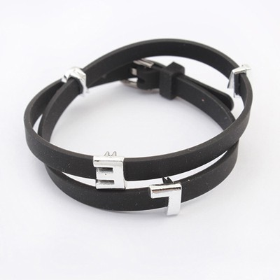 Sling Black Metal Letter Decorated Multilayer Design Alloy Korean Fashion Bracelet