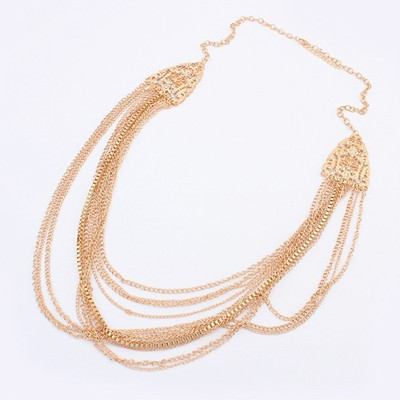 Bridesmaid Gold Color Multi Chain Simple Design Alloy Chains