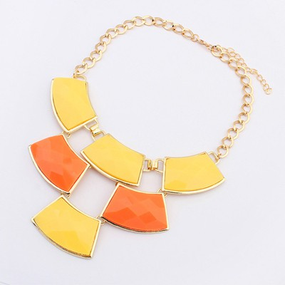 24K Yellow&Orange Geometric Shape Gemstone Patchwork Pendant Alloy Bib Necklaces