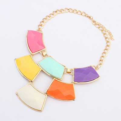 Childrens Multicolor Geometric Shape Gemstone Patchwork Pendant Alloy Bib Necklaces