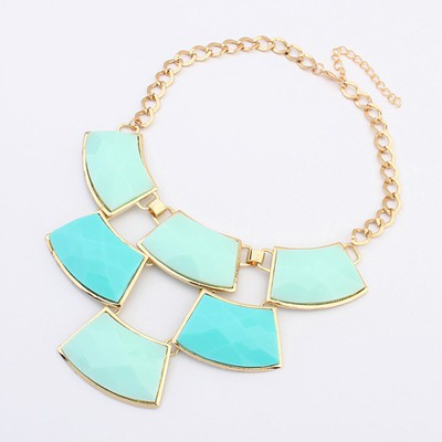 Retro Light Blue Geometric Shape Gemstone Patchwork Pendant Alloy Bib Necklaces