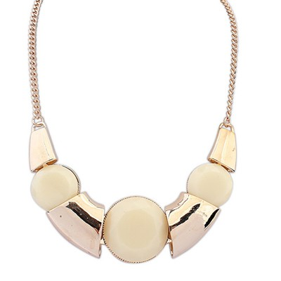 Faddish Beige Irregular Shape Exotic Pendant Alloy Bib Necklaces
