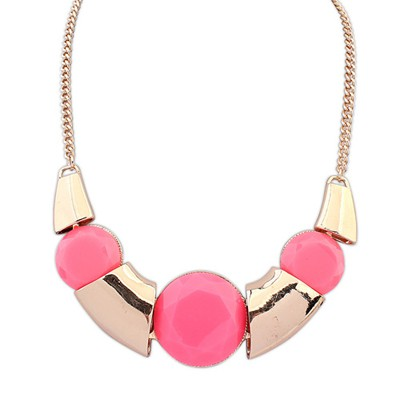 Colorful Plum Red Irregular Shape Exotic Pendant Alloy Bib Necklaces