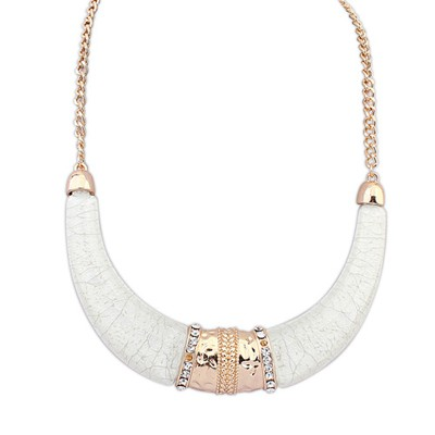 Faddish Beige Semicircle Shape Exaggerated Ethnic Pendant Alloy Bib Necklaces