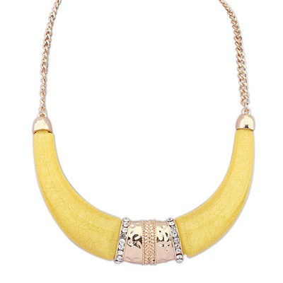 Fantasy Yellow Semicircle Shape Exaggerated Ethnic Pendant Alloy Bib Necklaces