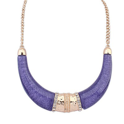 Free Purple Semicircle Shape Exaggerated Ethnic Pendant Alloy Bib Necklaces