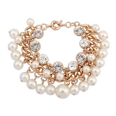 Tattoo White Metal Weave Pearl Chain Design Alloy Korean Fashion Bracelet