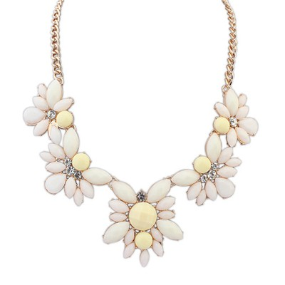 Beaded Beige Five Gemstone Flower Decorated Alloy Bib Necklaces
