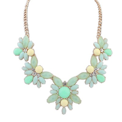 Formal Light Green Five Gemstone Flower Decorated Alloy Bib Necklaces