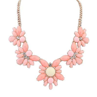 Quality Pink Five Gemstone Flower Decorated Alloy Bib Necklaces