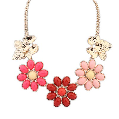 Minted Red Gemstone Flower Decorated Alloy Bib Necklaces