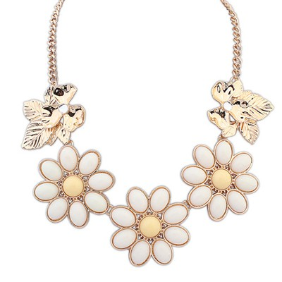 Western Beige Gemstone Flower Decorated Alloy Bib Necklaces
