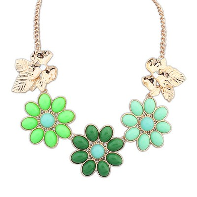 Promise Green Gemstone Flower Decorated Alloy Bib Necklaces