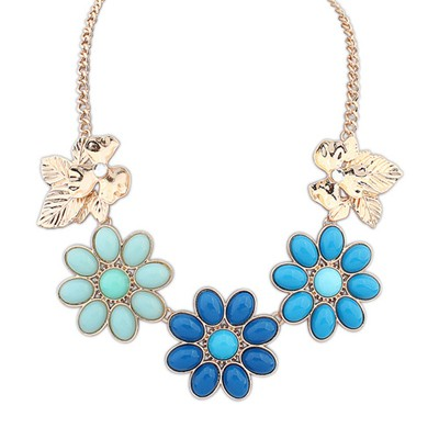 Glam Blue Gemstone Flower Decorated Alloy Bib Necklaces