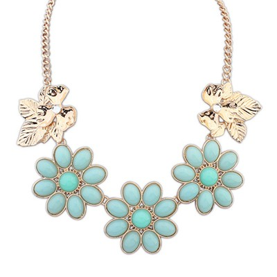 Bridal Light Blue Gemstone Flower Decorated Alloy Bib Necklaces