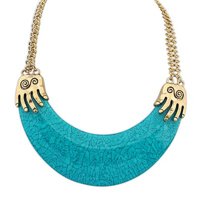 Standard Blue Exotic Crescent Shape Pendant Alloy Bib Necklaces