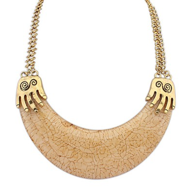 Baptism Light Coffee Exotic Crescent Shape Pendant Alloy Bib Necklaces