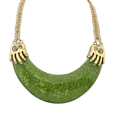Sample Green Exotic Crescent Shape Pendant Alloy Bib Necklaces
