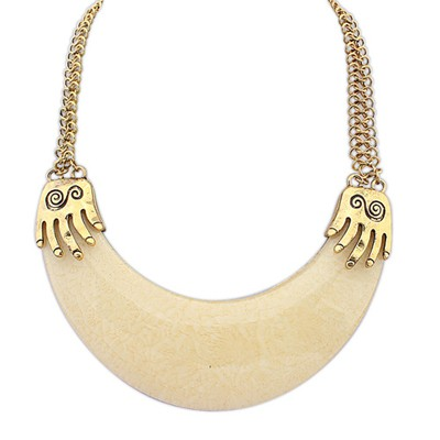 Royal Beige Exotic Crescent Shape Pendant Alloy Bib Necklaces