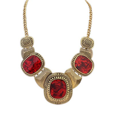 Native Red&Antique Gold Vintage Exaggerated Leopard Gemstone Decorated Alloy Bib Necklaces