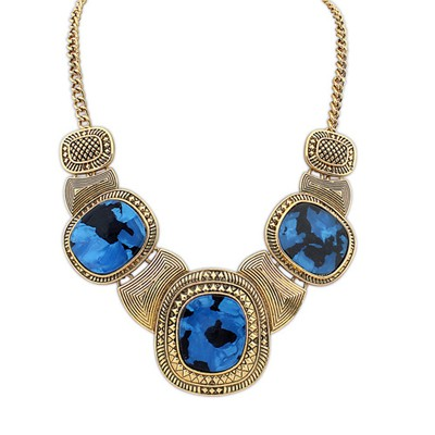 Initial Blue&Antique Gold Vintage Exaggerated Leopard Gemstone Decorated Alloy Bib Necklaces