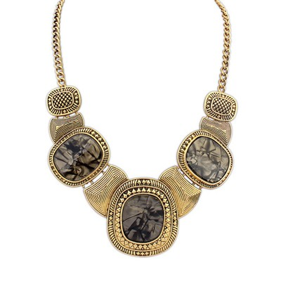 Glueless Gray&Antique Gold Vintage Exaggerated Leopard Gemstone Decorated Alloy Bib Necklaces