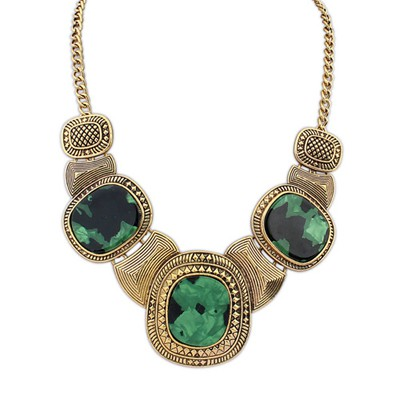 Security Green&Antique Gold Vintage Exaggerated Leopard Gemstone Decorated Alloy Bib Necklaces