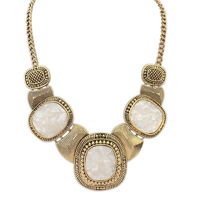 Cubic Beige&Antique Gold Vintage Exaggerated Leopard Gemstone Decorated Alloy Bib Necklaces