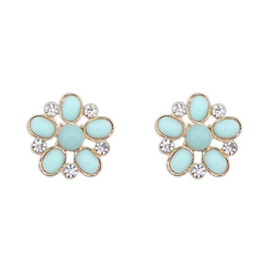Light Blue Hollow Out Flower Shape Design Alloy Stud Earrings
