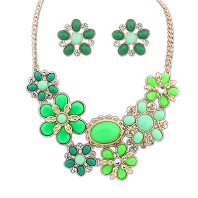 Patagonia Green Gemstone Flower Decorated Alloy Jewelry Sets