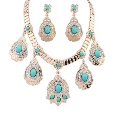 Hemp Light Blue Diamond Decorated Oval Gemstone Pendant Design Alloy Jewelry Sets