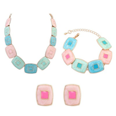 Wedding Multicolor Square Shape Gemstone Decorated Design Alloy Jewelry Sets