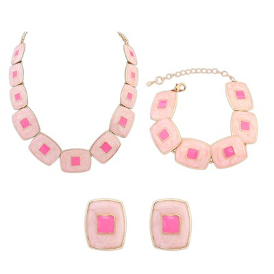 Aamazing Pink Square Shape Gemstone Decorated Design Alloy Jewelry Sets