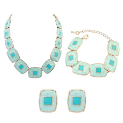 Rebel Light Green Square Shape Gemstone Decorated Design Alloy Jewelry Sets