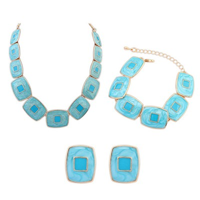 Hardy Light Blue Square Shape Gemstone Decorated Design Alloy Jewelry Sets