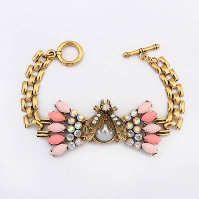 Reflective Pink Vintage Beetle Decorated Alloy Korean Fashion Bracelet