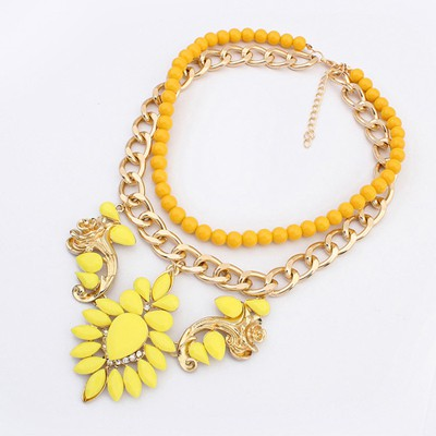 Amethyst Yellow Gemstone Flower Decorated Double Layer Design Alloy Chains