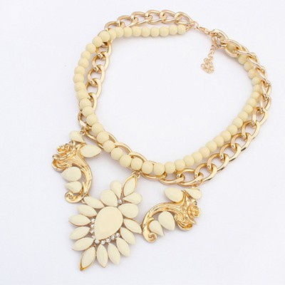 Healing Beige Gemstone Flower Decorated Double Layer Design Alloy Chains